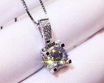 1 Carat Round Cut man made Diamond Bezel Set Solitaire Pendant  c52ce3b07089