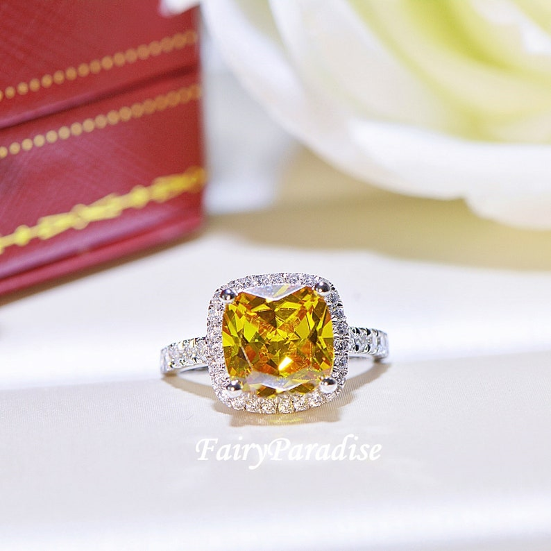 975cb5d2cb8264 3 Ct Cushion Cut Yellow Canary Halo Engagement Ring Promise | Etsy