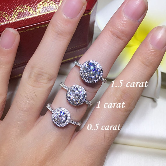 1.5 Carat Double Halo Engagement Ring  Promise Ring Free Ring Box Round Cut Man Made Diamond Solid 925 Silver ZDR349 Fairy Paradise