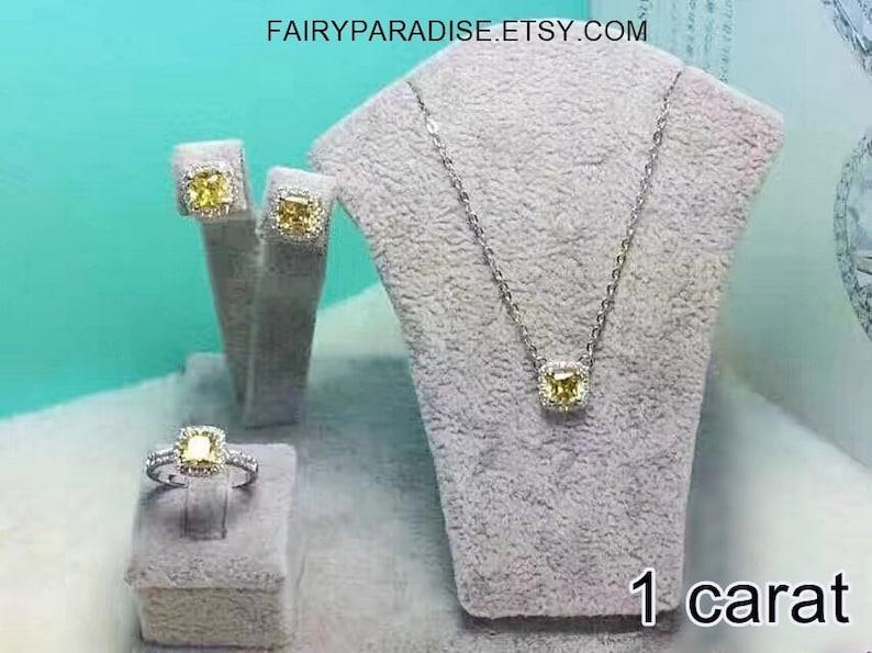 57989cdd076b3 1 ct Cushion Cut Wedding Bridal Jewelry Sets, Bridesmaid Gifts, Clear/  Yellow/ Pink Man Made Diamonds Simulants (1 carat/ 2 carat/ 3 carat)