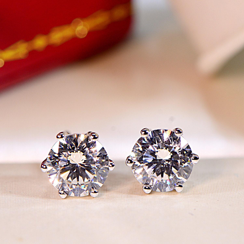2 5 Mm Earrings: 2 Ctw 6.5 Mm Each 6 Prong Stud Earrings Everyday Earrings