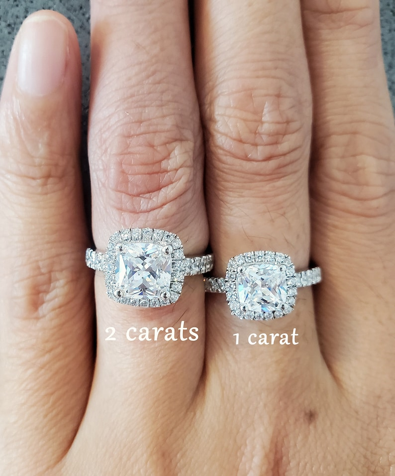 1 Carat or 2 Carat Cushion Cut Halo Ring in Pave Band Promise ring for her Alternative Ring Man Made Diamond Simulants Sterling Silver