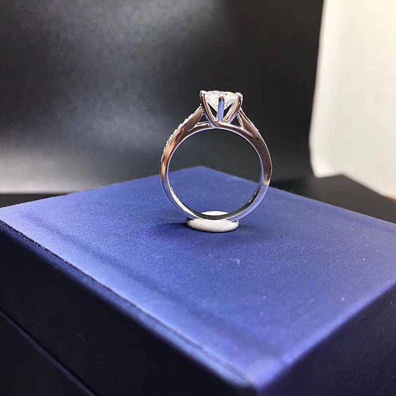 925 sterling silver pave band Free ring box man made diamond 1 Carat Round Solitaire Engagement Ring  Promise Ring  Wedding Ring
