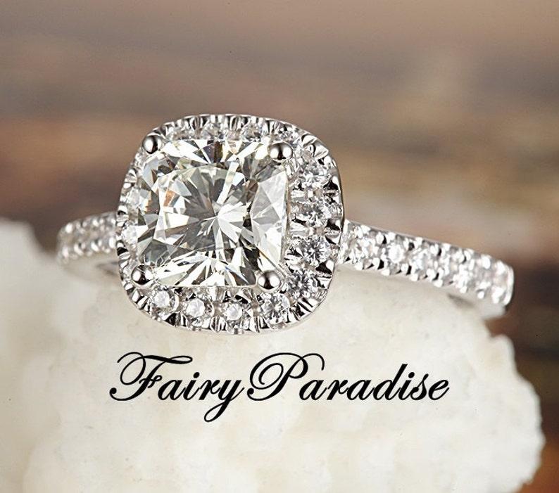 1 Carat Cushion Cut Halo Engagement Ring Dainty Promise Ring image 0