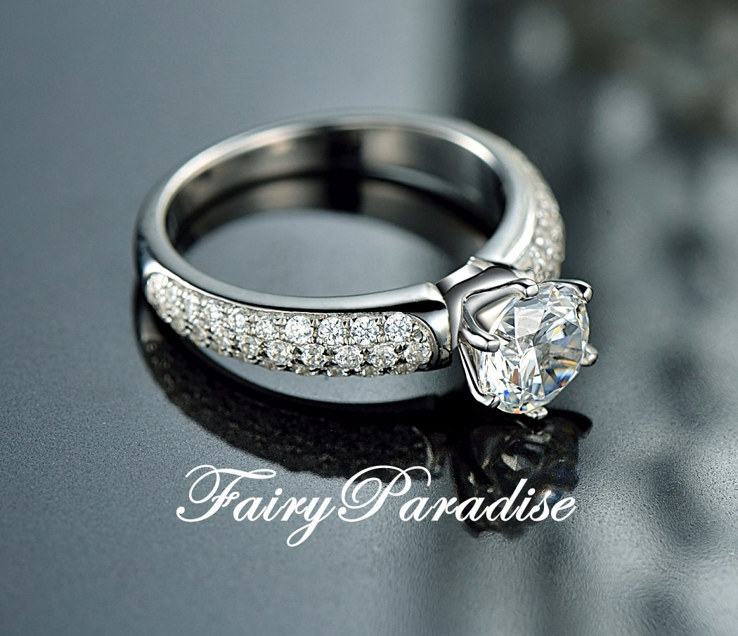 1 Carat Round Cut Man Made Diamond Solitaire Engagement Rings Etsy