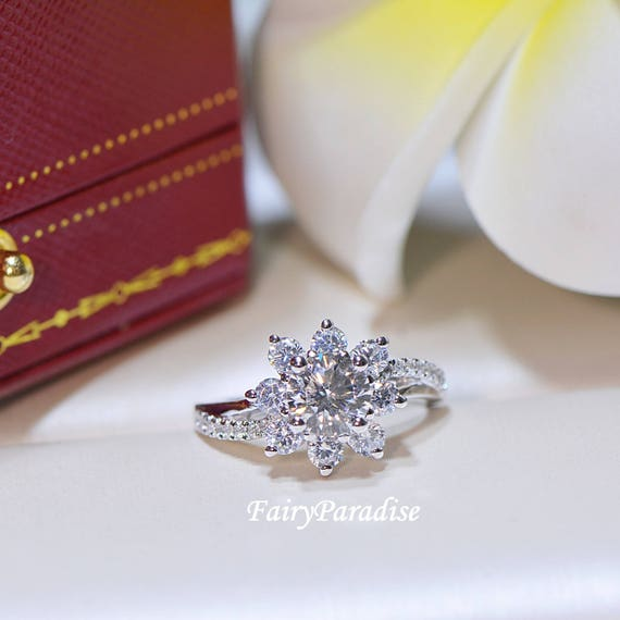 1 Carat Snowflake Ring, Winter Wedding Engagement Ring, Swirl Ring, Christmas Holiday Jewelry, Flower Ring, Man Made Diamond Cluster Ring by Etsy