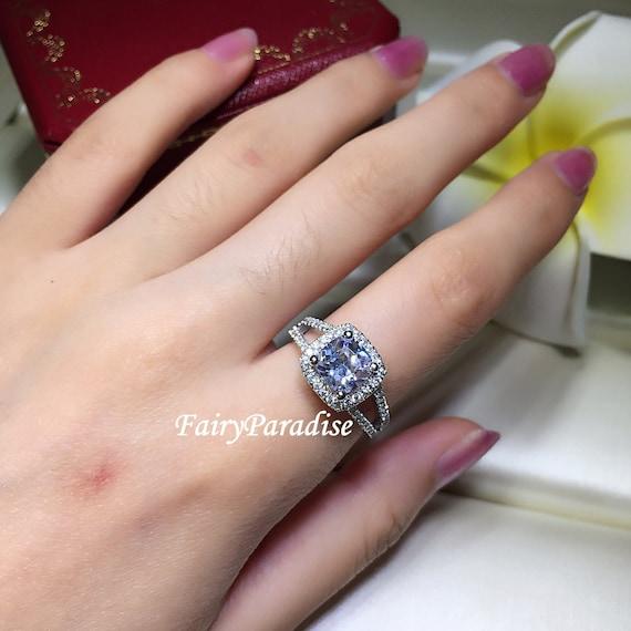 Fairyparadise 2 Carat Cushion Cut Halo Engagement Ring Wedding