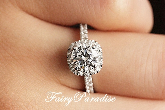 1 Carat Cushion Square Halo Engagement ring   Promise rings 1  47a5d3415e