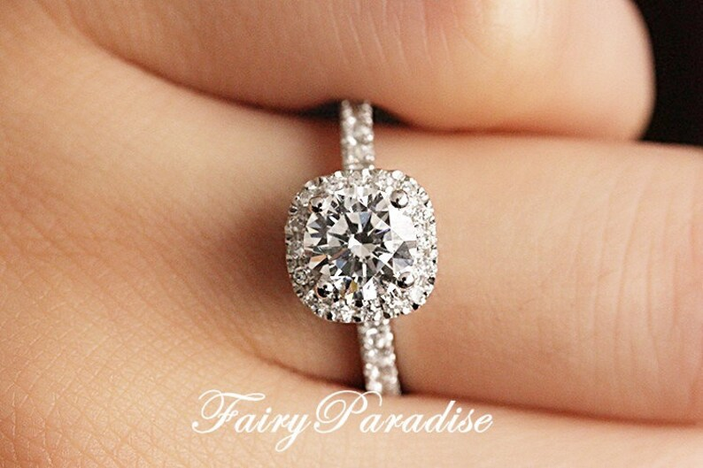 1 Carat Cushion Square Halo Engagement ring   Promise rings 1  6f7691f0c3