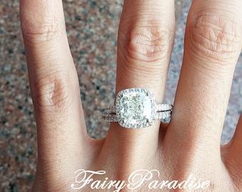 3 Carats Cushion Halo Engagement Ring, Bridal Set, Wedding Ring, Promise Ring, Man Made Diamond Simulant, Alternative Ring, Free Ring Box