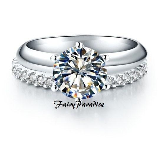 2 Carats 8 Mm Bridal Wedding Ring Set Round Man Made Etsy