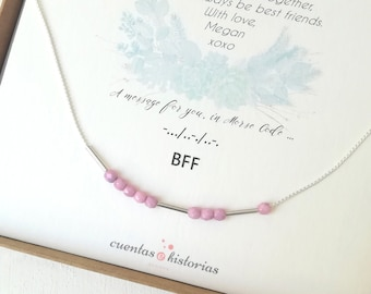 christmas gifts necklace for women long distance, morse code necklace, 21st birthday, 30th birthday gift personalized, relationship
