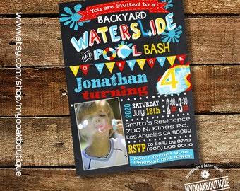 Backyard Splish Splash Party Bash Invitation Birthday Pool Etsy