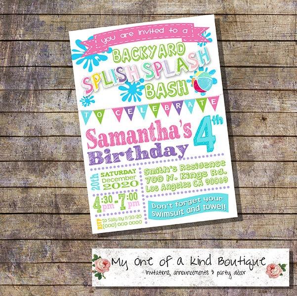 Splish Splash Backyard Bash Birthday Party Invitation Summer Etsy