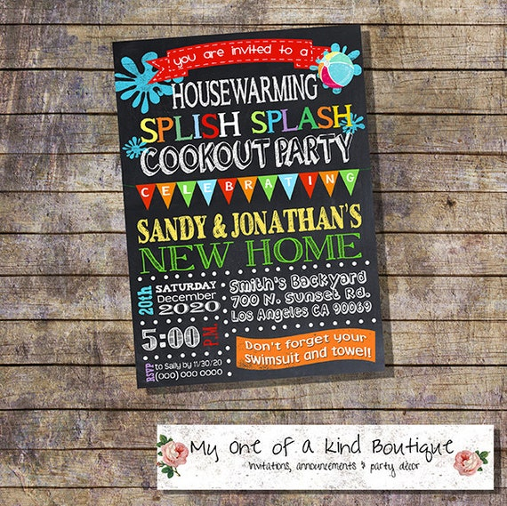 Items Similar To Cookout Pool Party Housewarming Invitation House Warming Bbq Open Invite Digital Printable You Print 13206 On