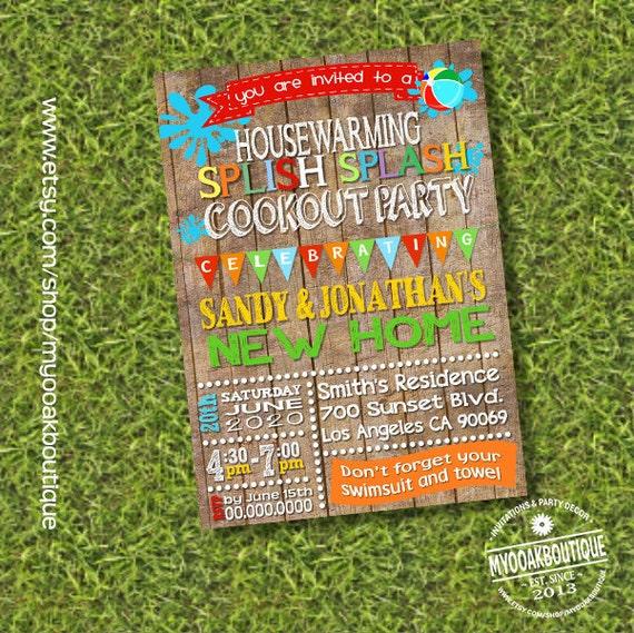 Items Similar To Cookout Pool Party Housewarming Invitation House Warming Bbq Open Invite Digital Printable You Print 14218 On