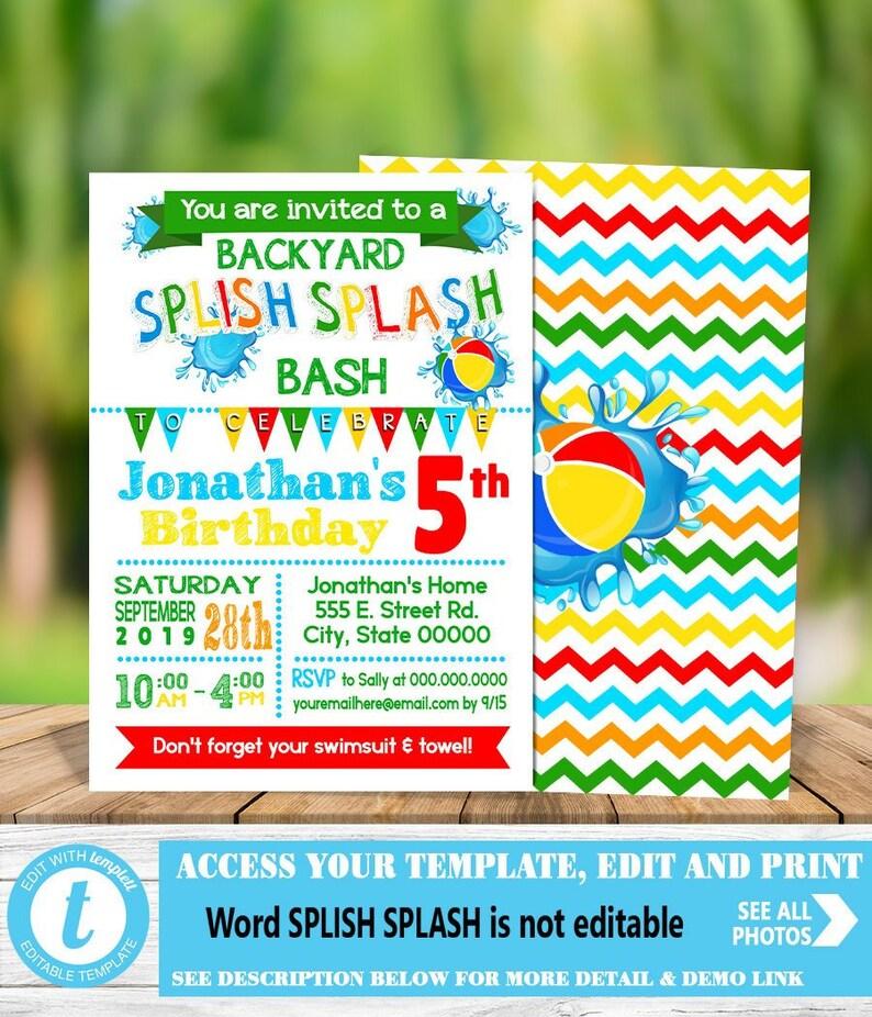 Splish Splash Backyard Bash Birthday Party Invitation Summer