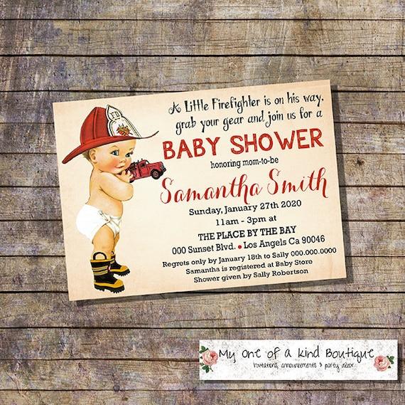 Fireman Baby Shower Invitation Shower Party Invite Firefigher Etsy