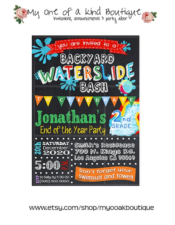 waterslide party bash invitation end of the school year pool etsy