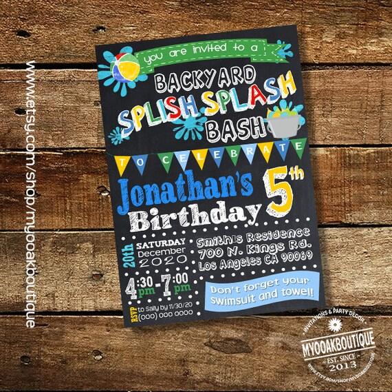 Splish Splash Party Invitation Backyard Bash Birthday Party Etsy