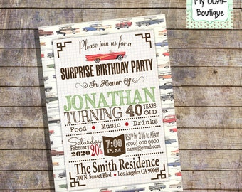 Surprise birthday party invitation party invite vintage cars party invite 30th 40th 50th 60th any age digital printable you print 13368