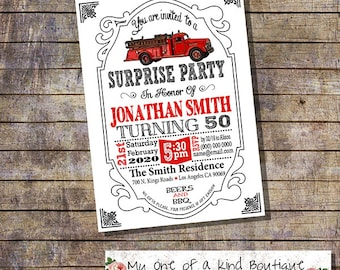 Fire truck surprise birthday party invitation fire engine adult invite 30th 40th 50th 60th any age digital printable invitation 13782