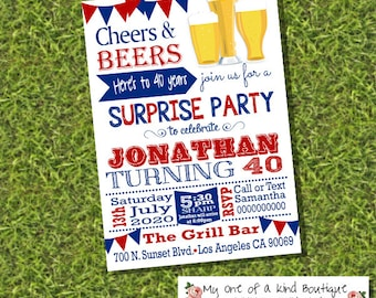 Cheers and beers surprise birthday invitation adult party invite 21st 30th 40th 50th any age digital printable invitation 13949