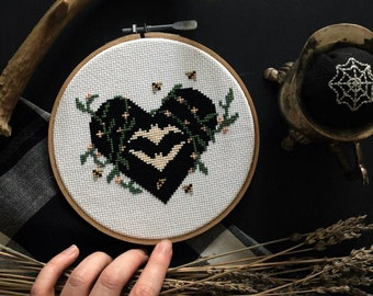 Dark Spring Cross Stitch Pattern/ Digital Download/ embroidery/ cross stitch / spooky art / creepy art / Halloween / fiber art