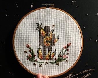 Wicker Man cross stitch pattern / Digital Download/ embroidery/ cross stitch / spooky art / creepy art / Halloween / fiber art