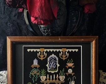 Haunted Gallery Wall/ Digital Download/ embroidery/ cross stitch / spooky art / creepy art / Halloween / fiber art