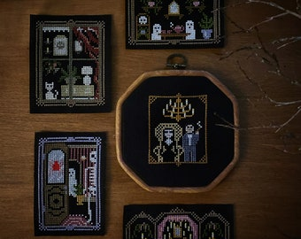Cross Stitch Haunted House - All 5 Designs Combo Pack   spooky Halloween goth haunted house modern cross stitch diy