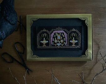 Cross Stitch Window with Floating Candles spooky Halloween goth haunted house modern cross stitch diy
