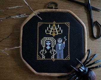 Cross Stitch Gomez and Morticia  spooky Halloween goth haunted house modern cross stitch diy