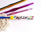 Personalized Name Crochet hook Crochet hook Floral Design Ergonomic hook Crochet supplies Custom crochet hook Polymer clay hook Gift for her