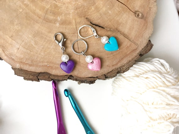 Crochet Knit Cookies Stitch Marker Sets with Clasps Polymer Clay Handmade
