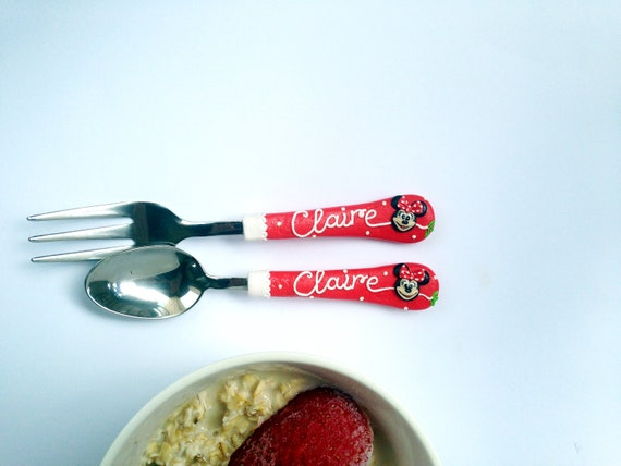 Minnie Spoon and Fork Gift for Girl Personalized Minnie Cutlery Set Baby Girl Easter Gift Personalized Kids Gift Gift for Toddler