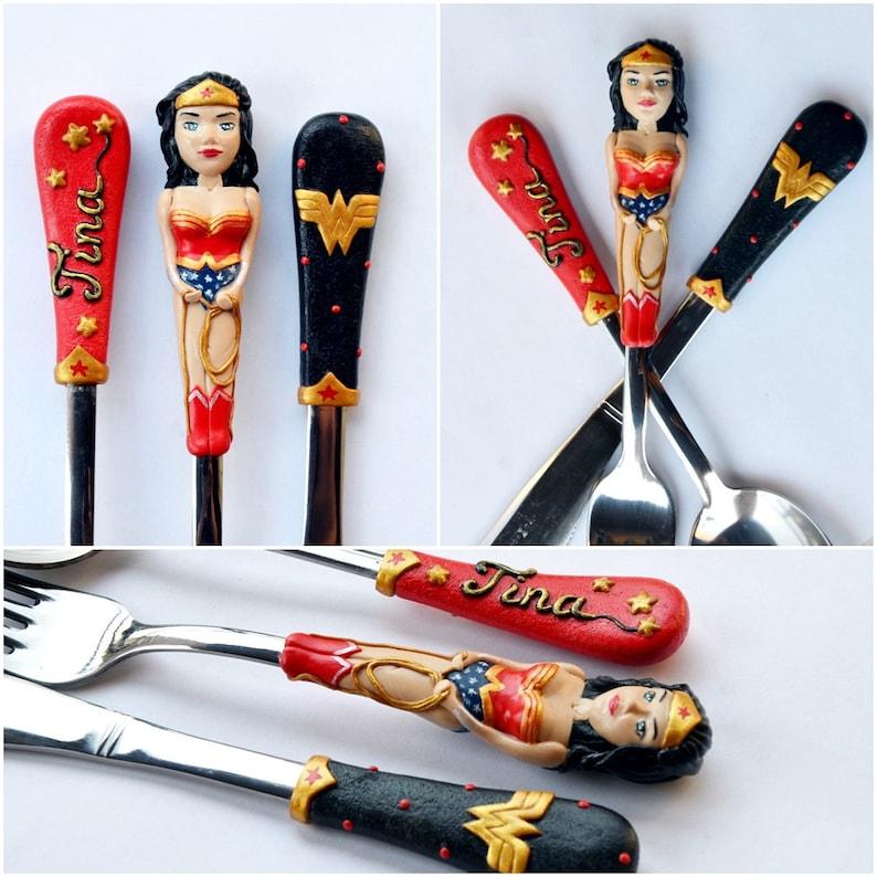 Wonder Woman Custom Cutlery set Gift for Her Gift for Women Black Red Wonderwoman Spoon Girl Power Super Hero Women Wonder Woman Baby Spoon