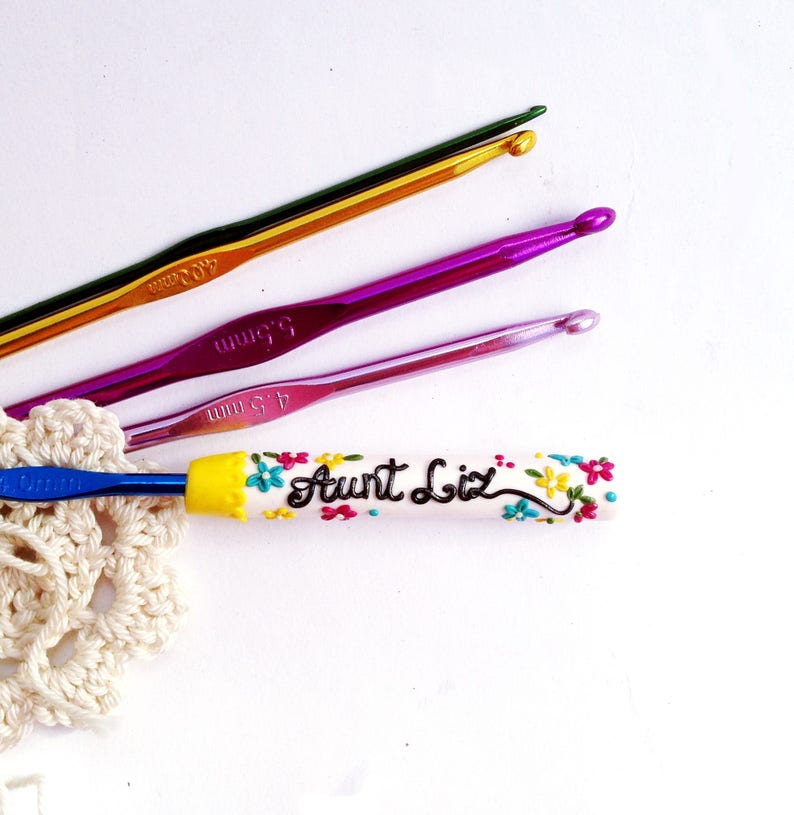 Personalized Name Crochet Hook Crochet Hook Floral Design Etsy
