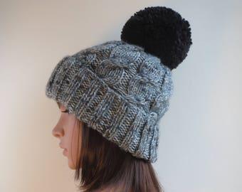 Grey Pom Pom Hat. Chunky Grey Bobble Hat. Grey Tweed-Effect Hat. Warm Pom  Pom Hat Grey Cable Knit Beanie. Handmade   Knitted Warm WInter Hat 1b02db989e33