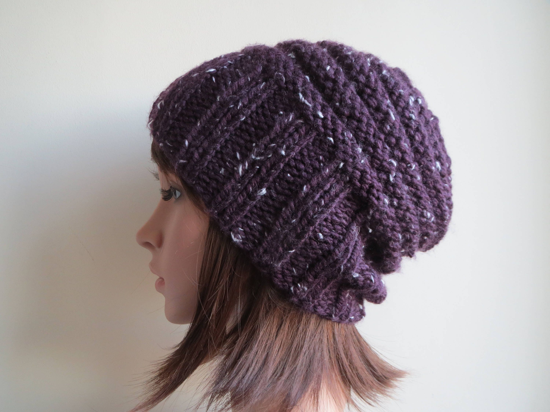 Knitting Pattern - Slouchy, Chunky Beanie Pattern. Adult Knit Hat ...