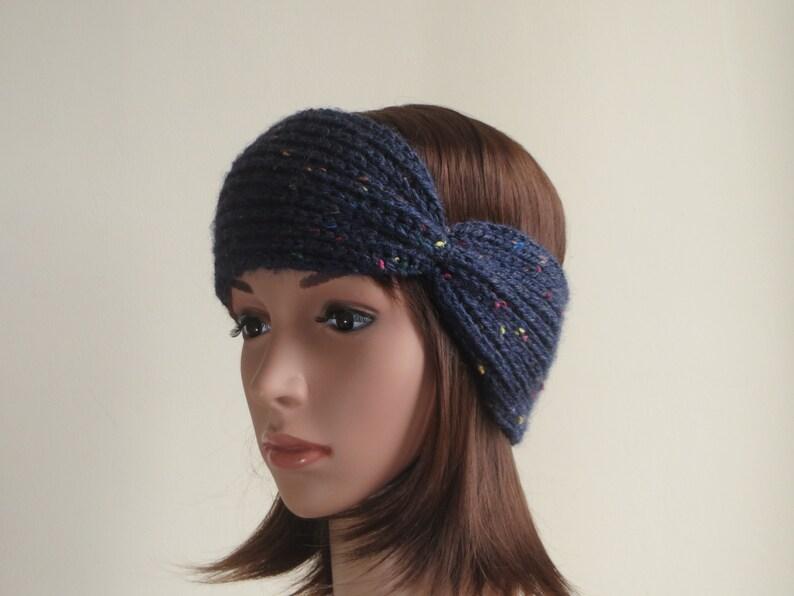 9611d91f4b9 Blue Wool Ear Warmer Headband. Chunky Knit Ear Warmer