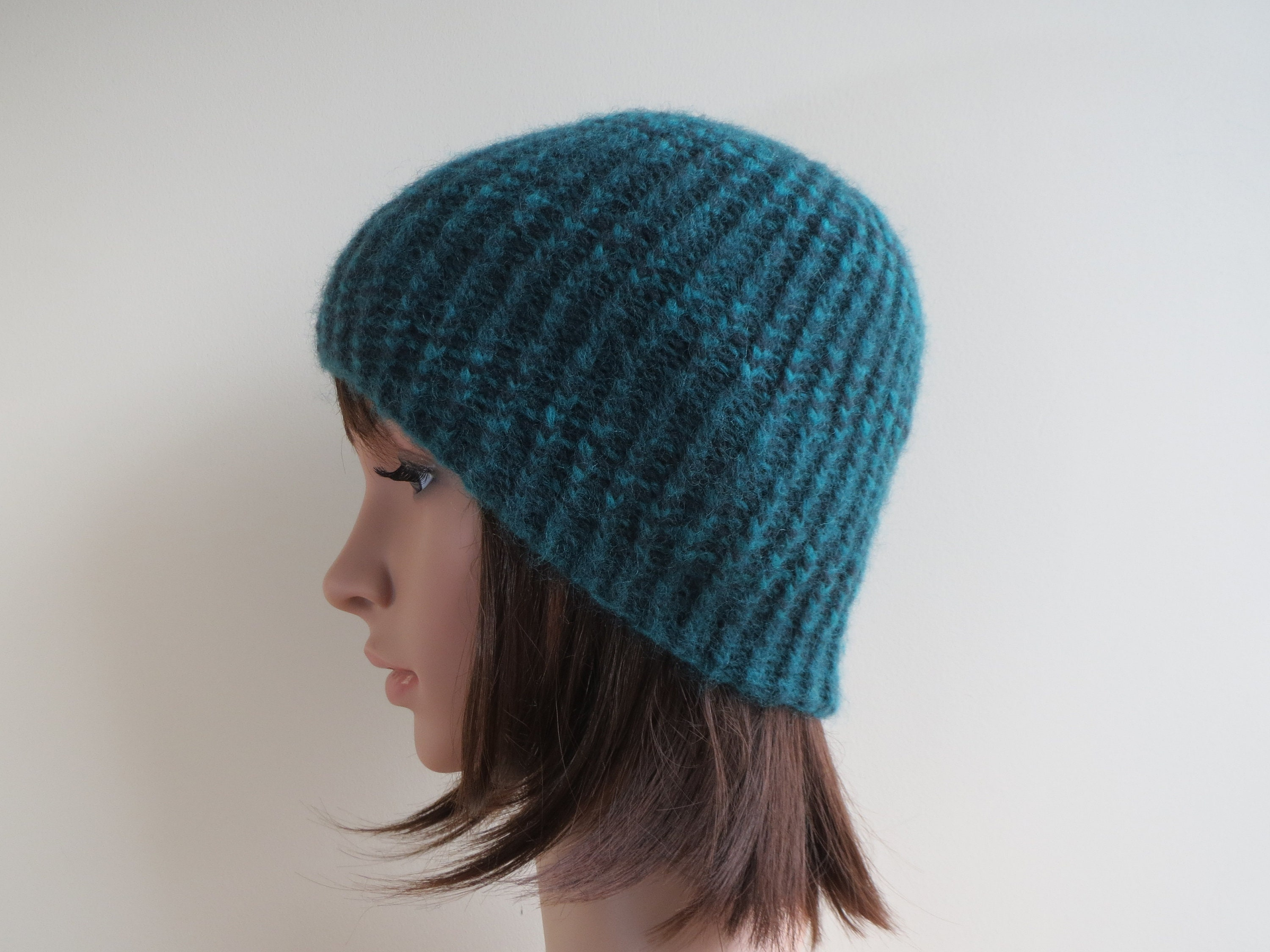 Pure Wool Hat. Chunky Ribbed Wool Beanie. Soft Brushed Wool  7bb94cee8a1