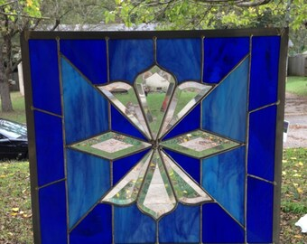 "Large Stained Glass Window Suncatcher Opaque Delight Curtain Panel with Bevels - 14.5"" tall x 16.5"" wide - Available Now"