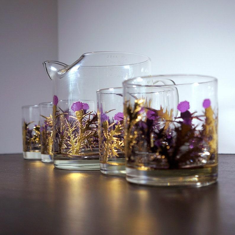 Scottish Thistle Barware 1950s Vintage Glassware / Drinkware image 0