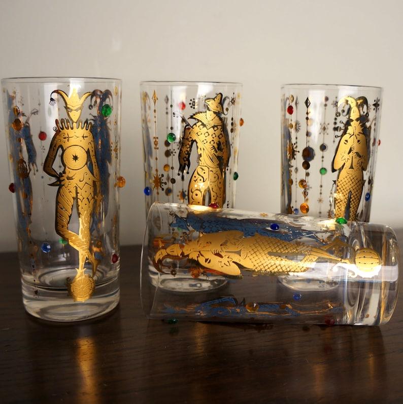 Mardi Gras Highball Glasses Culver Glassware Four 4 Gold image 0