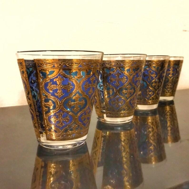 Georges Briard Firenze Blue Gold Barware 4 Huge Slant Whiskey image 0