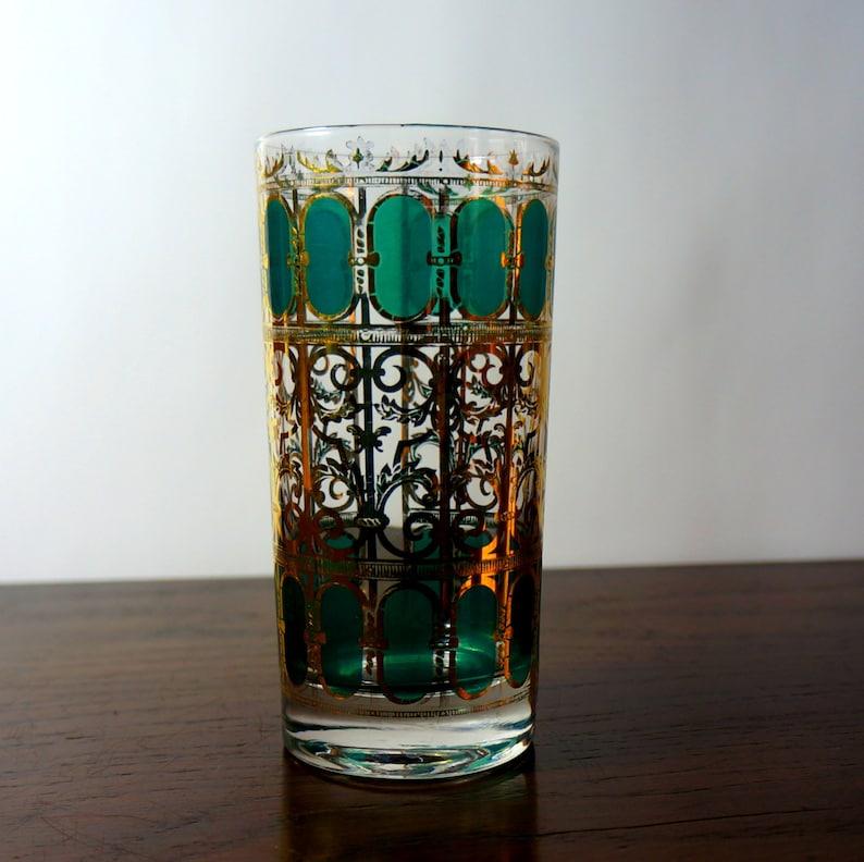 Emerald Scroll 1960s Vintage Barware Culver Glassware One 1 image 0