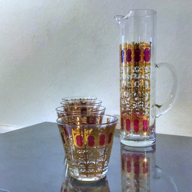 Cranberry Scroll Culver Glass 196O Vintage Glassware Retro image 0