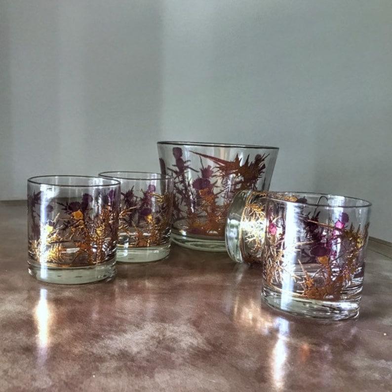 Scottish Thistle 1950s Whiskey  Barware Set Vintage Glassware image 0