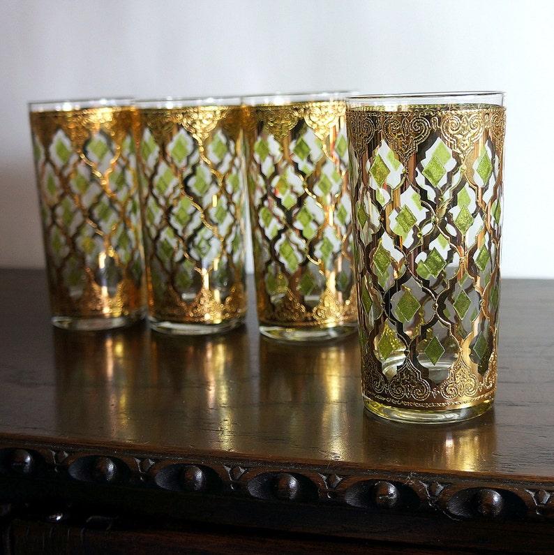 Valencia Culver Glassware 1960s Vintage Barware Glasses Set 4 image 0